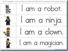 reading with Lego worksheets -  easily adapted to other non sword Legos too for younger ages for age appropriateness