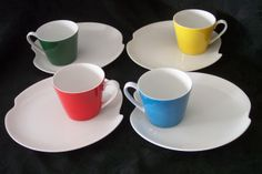 Excellent Retro Modern Primary Colors 8 Piece Snack Set by Lefton China - from L L Berger, Buffalo NY