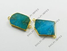 Shining Gems! 5Pc Wholesale Lot Synthetic Smithsonite Brass Connectors Charms #Shining_Gems #Connectors #Jewelry #gemstone