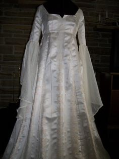 Custom made Renaissance Medieval wedding gown dress with flowing sleeves and overlay