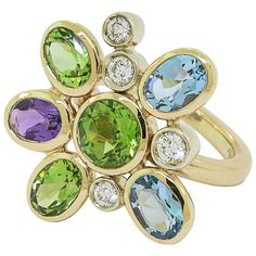 Manfredi of Italy Gem Set Diamond Gold Flower Ring | From a unique collection of vintage fashion rings at https://www.1stdibs.com/jewelry/rings/fashion-rings/