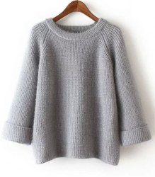 Stylish Long Sleeve Round Neck Pure Color Sweater For Women in Gray | Sammydress.com Mobile