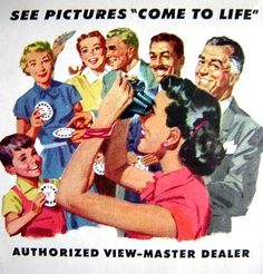 Family Fun with a View-master! See pictures come to life! Vintage #1950s V#iew-Master #ad detail.