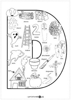 Kolorowanka D - Printoteka.pl Alphabet Coloring Pages, Travel With Kids, Speech Therapy, Montessori, Origami, Public, Letters, School, Speech Language Therapy
