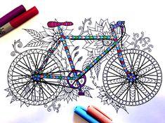 Bicycle PDF Zentangle Coloring Page por DJPenscript en Etsy