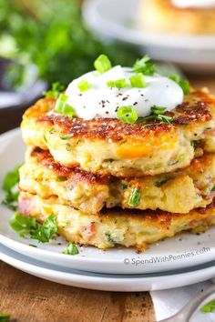 This recipe for Loaded Mashed Potato Cakes is the perfect use for leftover mashed potatoes! Everyone raves about these potato pancakes and beg for more!: