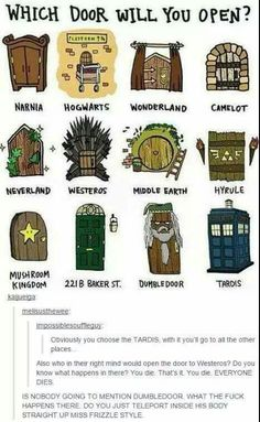 Uh, obviously ALL OF THEM!!!!!>>> Umm... Are you sure? Westeros? Also I'm kinda afraid of Dumbledoor. I mean wtf is in there?