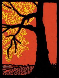 """Red Morning"" woodcut by Bob Craig"