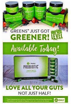 Meet our first It Works! Probiotic!   We've combined Probiotic PLUS Prebiotic to target your small & large intestines!💚   This product will help you maintain a healthier digestive system and balanced immunity.  ANDDDD our Greens just got even MORE amazing‼️ ✅ Allergen Free ✅ 2.5x as many fruits🍎🍓🍇🍒🍉🍏 ✅ Added Spirulina & Parsley ✅ 4x the fiber ✅ 55% MORE fruits & veggies! ✅ Vegan  ✅ Non-GMO ✅ Matcha Green Tea Powder   Who is ready to try these products at my cost⁉️ 💚💚💚💚💚