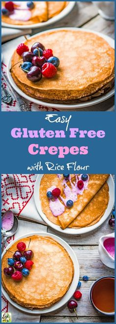 This Easy Gluten Free Crepes with Rice Flour recipe is ideal for breakfast, brun. Gluten Free Recipes For Breakfast, Best Gluten Free Recipes, Gluten Free Rice, Gluten Free Breakfasts, Recipes Using Rice Flour, Recipes With White Rice Flour, Rice Recipes, Sin Gluten, Crapes Recipe