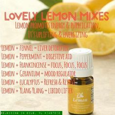 I love all the different ways that lemon can be used when you mix with other oils!  I'm happy to help you get your oils: https://www.youngliving.com/signup/?sponsorid=1245601&enrollerid=1245601