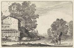 Jan van de Velde (II)   Tobias en de engel in een landschap met een ruïne, Jan van de Velde (II), 1616   Tobias, met onder zijn arm de vis, en de engel onderweg op een pad in een landschap met een ruïne van een huis (Tobit 4-6). Aangemeerde boten langs de oever. Zevende prent van deel drie van een serie van in totaal zestig prenten met landschappen, verdeeld over vijf delen van elk twaalf prenten.