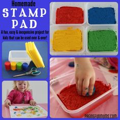 Homemade Stamp Pads! awesome we already make the bottlecap stamps now we can try the stamp pad