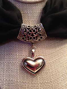 Silver Heart Scarf Ring w/Heart Pendant by ErinMichellesJewelry on Etsy, $12.00