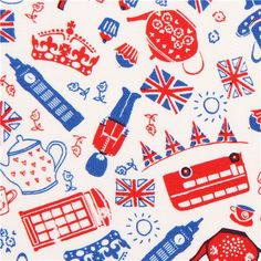 white British icons London fabric by Timeless Treasures 1