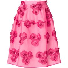 P.A.R.O.S.H. floral-embroidered skirt ($605) ❤ liked on Polyvore featuring skirts, knee length skirts, high-waisted skirt, pink high waisted skirt, knee high skirts and pink skirt