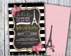 paris birthday invitation eiffel tower by GoldenMomentsDesign