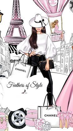 Megan Hess, Fashion Design Drawings, Fashion Sketches, Mode Collage, Chanel Wallpapers, Chanel Decor, Cute Girl Drawing, Girly Drawings, Cute Girl Wallpaper