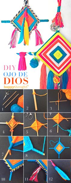 Make your own Ojo de Dios or God's Eyes  - tutorial at https://happythought.co.uk