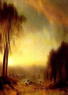 "ACEO ""Flock Of Sheep""•countryside Sheep •Orig Digital Painting •Jean Moore"
