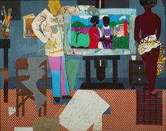 Romare Bearden - Artist with Painting and Model - 1981 African American Culture, American Art, Famous Artists For Kids, Romare Bearden, National Gallery Of Art, Tropical Art, Sale Poster, Figurative Art, Art Education