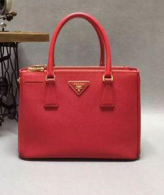 prada saffiano lux double-zip tote bag red bn1801