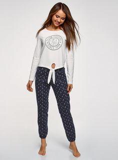 Купить пижаму хлопковую с брюками (белый) в интернет-магазине женской одежды  oodji 5ac3010e7d1fd