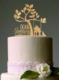 Happy 50 th anniversary cake topper Wedding by caketoppersshop667