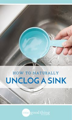 Learn how to unclog a sink the natural way! Using only vinegar, baking soda, and hot water, your drain will be running again in no time.