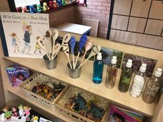 Shelving for theme, exploration of materials and spoons to re-tell story of going on a bear hunt Eyfs Classroom, Classroom Setup, Classroom Displays, Book Corner Eyfs, Book Corners, Reading Corners, Book Area, Curiosity Approach, Early Years Classroom