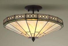 Mission Tiffany Semi Flush Ceiling Light: Amazon.co.uk: Lighting