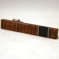Old-growth curly Hawaiian koa with aluminum Tie Clip