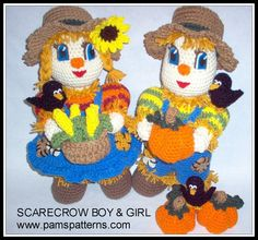 PDF Scarecrow Boy and Girl Crochet Patterns. $6.20, via Etsy.