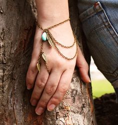 Slave Bracelet Hand Bracelet Piece Hipster Bronze Chain Boho Bohemian Feather Leaf Charm Turquoise Bead Ring  Hand Jewelry