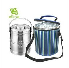 Free Shipping Cylindrical Lunch Cooler Bag Lunch Bag lunch Box Straight Barrel Mention Pot ice Pack Cooler Bag $25.47