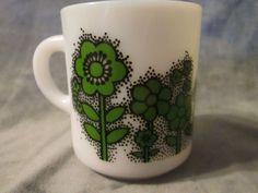 vintage milk glass green floral flowers mug cup mod art deco 70's 50's pyrex EUC