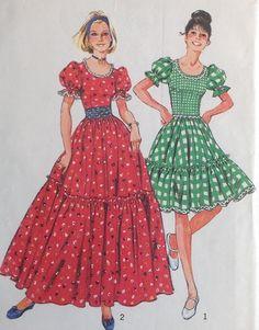 UC Vtg Simplicity 6452 Sew Pattern Square Dance Dress Frontier Prairie Peasant