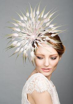 Rachel Trevor Morgan Millinery S/S 2015, R15107 Tipped feather flower headpiece