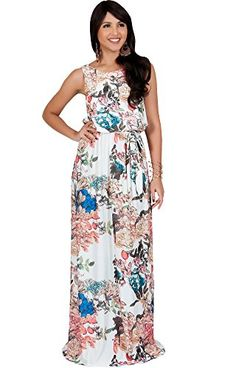 KOH KOH Petite Women Long Sleeveless Summer Floral Print Casual Cute Boho  Bohemian Maternity Flowy Sundress Sundresses Gown Gowns Maxi Dress Dresses 238262e444b6