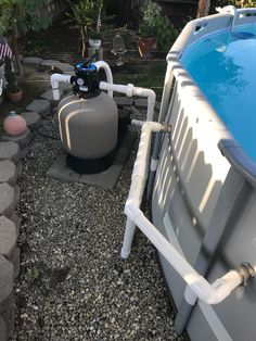 Pump and filter upgrade from cartridge w/ h pump to a sand filter w/ 1 hp pump. Also plumbed hard pipe PVC for better flow. Going to install wall skimmer next. Pvc Pool, Pool Sand, Swimming Pool Filters, Swimming Pools Backyard, Pool Decks, Sand Filter For Pool, Intex Pool Vacuum, Above Ground Pool Landscaping, Pool Maintenance