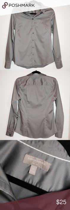 Banana Republic Gray No Iron Shirt Awesome gray button up. Worn twice. Like new condition!  And no iron!!  Size 10. No trades. Banana Republic Tops Button Down Shirts