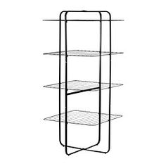 IKEA - MULIG, Drying rack 4 levels, in/outdoor, black,  , , Suitable for both indoor and outdoor use.Also stands steady on an uneven floor since the feet can be adjusted.If you don't have much laundry and want to save room, you can fold in one side and put the drying rack against the wall, and when the laundry is dry you can fold it completely flat.