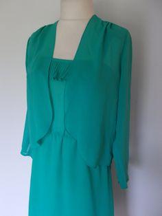 Vintage 70s 80s dress suit jade green chiffon frilled dress with matching jacket size  medium large by BidandBertVintage on Etsy