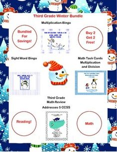 Third Grade Bundle - Reading and Math Winter Fun.  This is a great collection to review and reinforce reading sight words and math skills. There are two fun Winter themed Bingo Games-one for reading and one for multiplication. A 59 page collection of math worksheets provides a complete review that addresses 5 CCSS. There is a Winter themed collection of task cards that also provide additional math practice. There are 3 sets of cards that address multiplication and division facts.