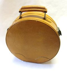 Vintage Round Train Case Brown Leather Travel Luggage Suitcase
