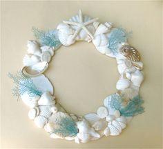 Beautiful seashell wreath for your coastal decor.