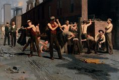 Anschutz, Thomas, (1851-1912), The Ironworkers' Noontime, 1880, Oil