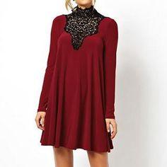 Richcoco - Lace Bib Long-Sleeve Dress