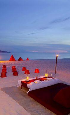 Sunset beach dinner, Amanpulo, Pamalican Island, Philippines