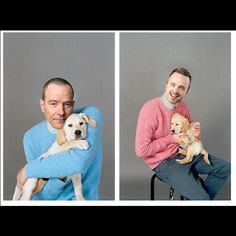 Bryan Cranston and Aaron Paul (Breaking Bad) with puppies Breaking Bad Season 5, Breaking Bad Poster, Aaron Paul, Bryan Cranston, Film Serie, Humor, Dog Photos, Family Photos, Best Shows Ever